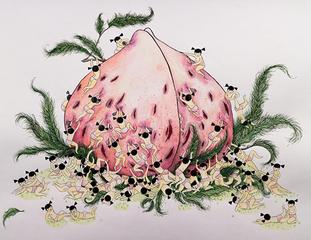 Girls Playing (Peach), Cathy Lu