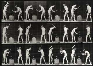 Animal Locomotion - Plate 374. Blacksmiths, hammering on anvil., Eadweard Muybridge