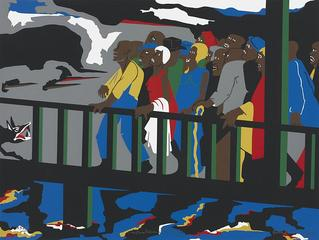Confrontation on the Bridge, Jacob Lawrence