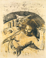 Tahitian Woman with Evil Spirit, Paul Gauguin
