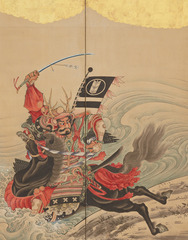 Race at the Uji Bridge (detail), Soga Shohaku