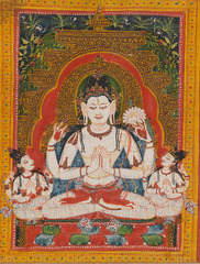 Four-Armed Shadakshari-Lokeshvara, Leaf from a dispersed Ashtasahasrika Prajnaparamita (Perfection of Wisdom) Manuscript. India (West Bengal) or Bangladesh ,