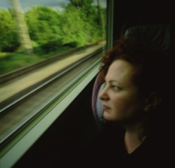 Self-portrait on the train, Boston-New Haven , Nan Goldin