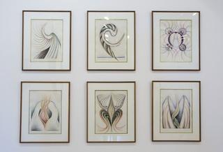installation shots of Wilding\'s retrospective at ThreeWalls, Faith Wilding