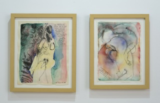 installation shots of Wilding\'s retrospective at ThreeWalls, Faith Wilding