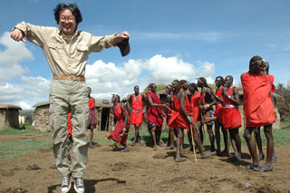 Artist Xu Bing during his residency in Mount Kenya National Park, Xu Bing