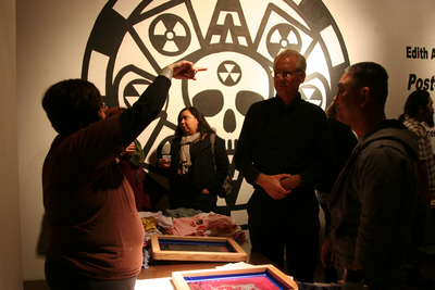 Post-post-apocalypse_-_civilization_-_edith_abeyta_at_the_silkscreen_table_talking_with_dan_from_clowns___fetuses_and_bill