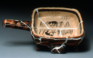 Mirro-Matic Electric Fry with Acoma Jar and Mimbres Men Setting Bird Snare bowl, Brook Le Van