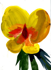 Eager Yellow Flower, Allison Schulnik
