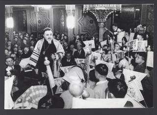 Simchat Torah celebration in Romanian synagogue, Bucharest,