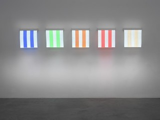 5 Colours of Electric Light situated work, Daniel Buren