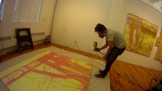 Greg Lindquist painting with HVLP paint sprayer on Duke Energy\'s Dan River II, Greg Lindquist