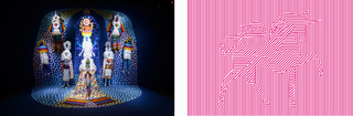 Right: Vandana Jain, Dazzle Unicorn, 2010, Saya Woolfalk, Left, 2013, Chimera, Digital Video and mixed media installation at MoCA Taipei 13\' x 18\' x 25' 4 min 12 sec