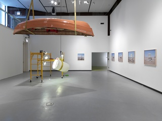 The Chicago Effect  (installation view). Left: Solo mesoporos  Right:  Untitled (series R) , Assaf Evron, Marissa Lee Benedict