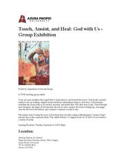 \'Touch, Anoint, Heal\' - [God With Us], Traveling Group Exhibition - Announcement p1
