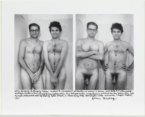 Allen Ginsberg and Gregory Corso, nude, two images (covered, then uncovered), Allen Ginsberg