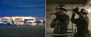 LEFT (Harun Farocki): Open Hangar; Cactus Flats, NV; Distance ~ 18 miles; 10:04 a.m. RIGHT(Trevor Paglen): War At a Distance,