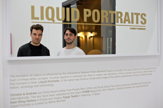 The artists at Liquid Portraits, Installation View, Dubai, Christto Sanz & Andrew Weir