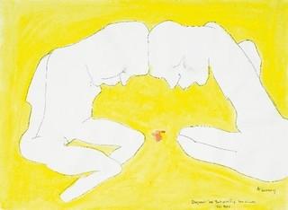 Ehepaar bei Betrachtung ihres Kindes, Maria Lassnig