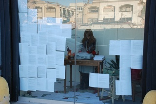 "Image: Jennifer Mills\' 24-hour performance, entitled ""Scribe"" completed in October 2008 in a Brooklyn storefront.,"