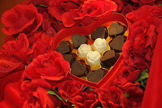 chocolate hearts display, Chocolatebox Cafe