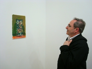 Mark viewing Housley work,Curator Mark Pascale viewing Paul Housley Work on Paper