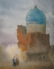 On road to a mosque, Ulughbek Mukhamedov